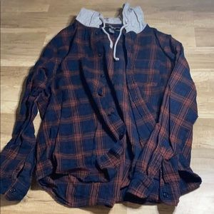 Forever21-plaid button down hoodie